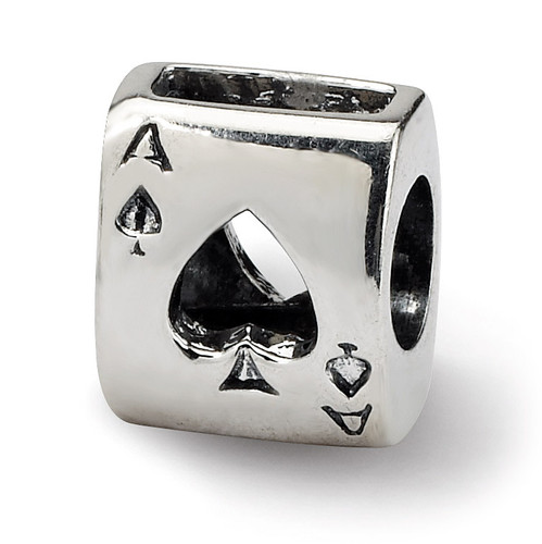 Ace Card Bead - Sterling Silver QRS314