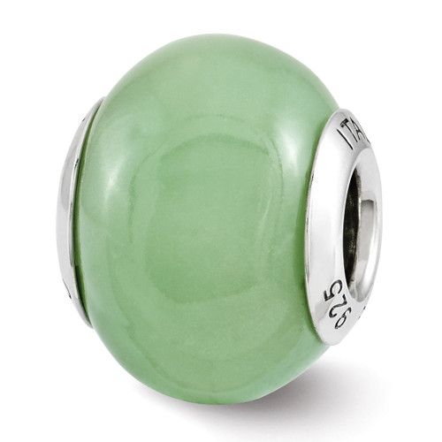 Reflection Green Glow-in-the-Dark Bead - Sterling Silver QRS3145