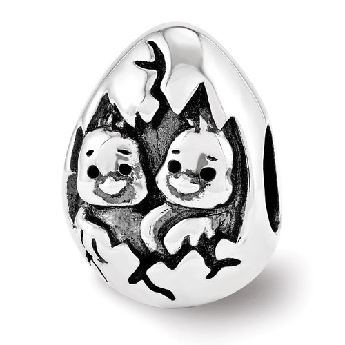Easter Chicks Bead - Sterling Silver QRS3451