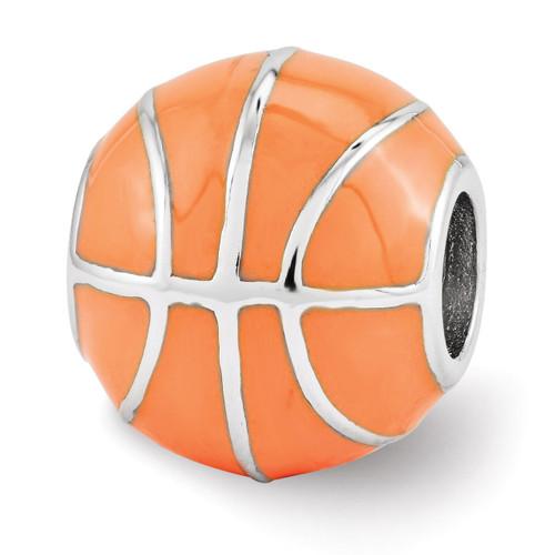 Orange Enameled Basketball Bead - Sterling Silver QRS3476