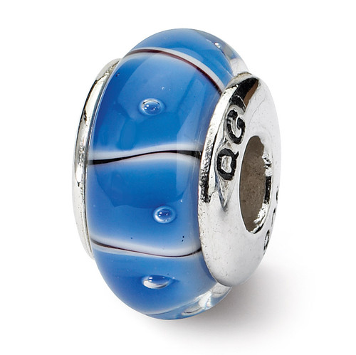 Blue Hand-blown Glass Bead - Sterling Silver QRS668