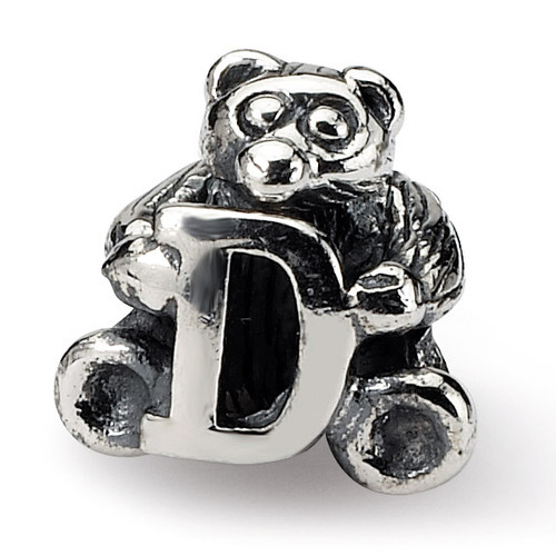 Letter D Bead - Sterling Silver QRS712D
