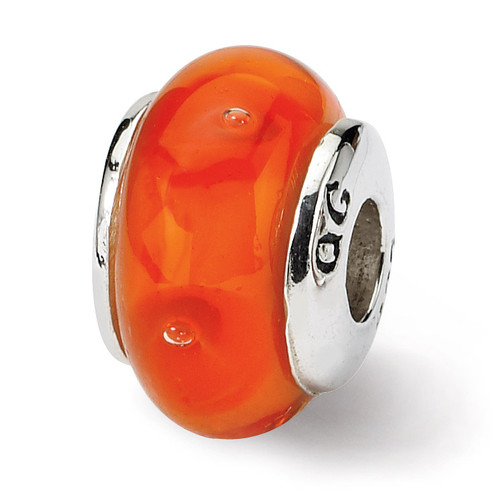 Orange Hand-blown Glass Bead - Sterling Silver QRS835
