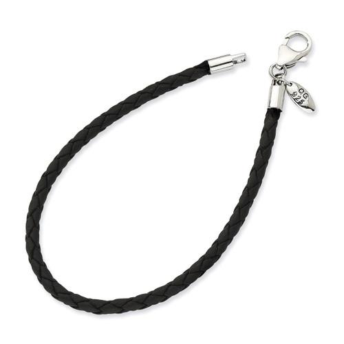 8.25 Inch Black Leather Bead Bracelet - Sterling Silver QRS983-8.25