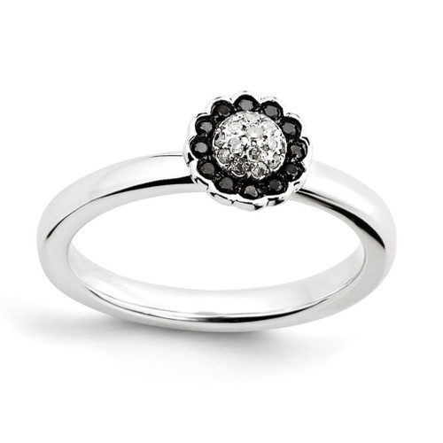 Black & White Diamond Ring - Sterling Silver QSK1062 UPC: 886774203164