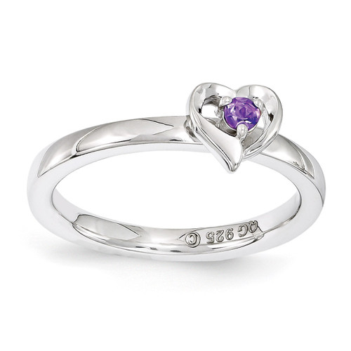 Amethyst Heart Ring - Sterling Silver QSK1523