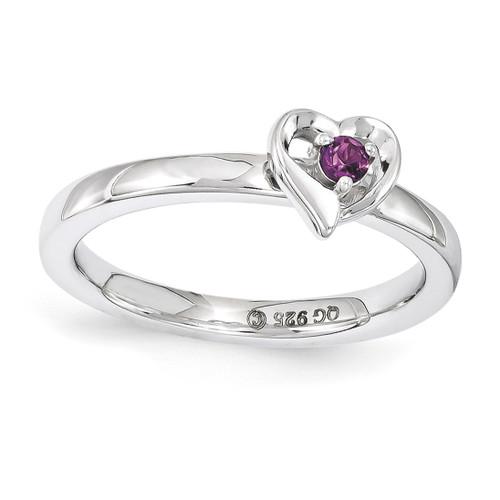 Rhodolite Garnet Heart Ring - Sterling Silver QSK1527 UPC: 886774206943