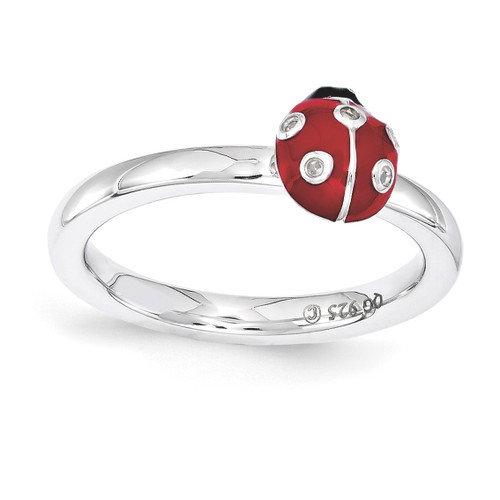 Red & Black Enamel with Diamond Ring - Sterling Silver QSK1542 UPC: 886774207728