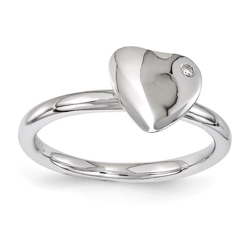 Heart Diamond Ring - Sterling Silver Rhodium-plated QSK1602 UPC: 886774214214