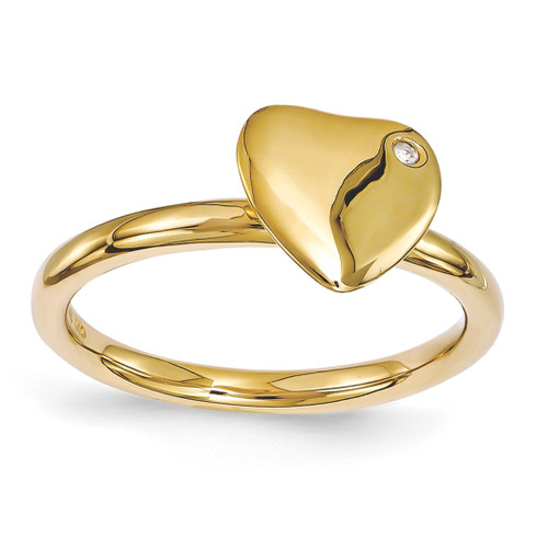 Gold-plated Heart Diamond Ring - Sterling Silver QSK1603 UPC: 886774214276