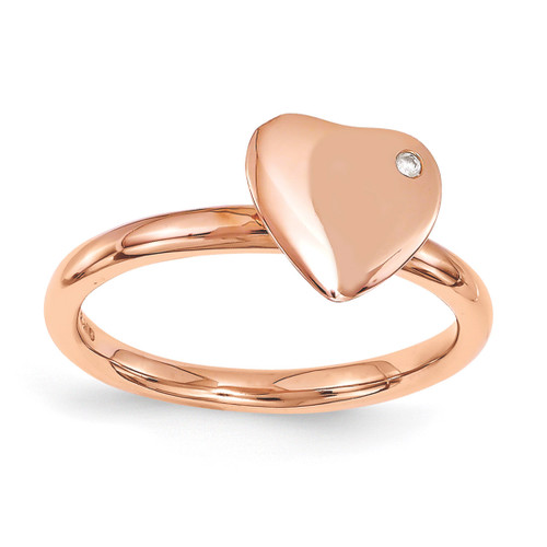 Rose Gold-plated Heart Diamond Ring - Sterling Silver QSK1604 UPC: 886774214337
