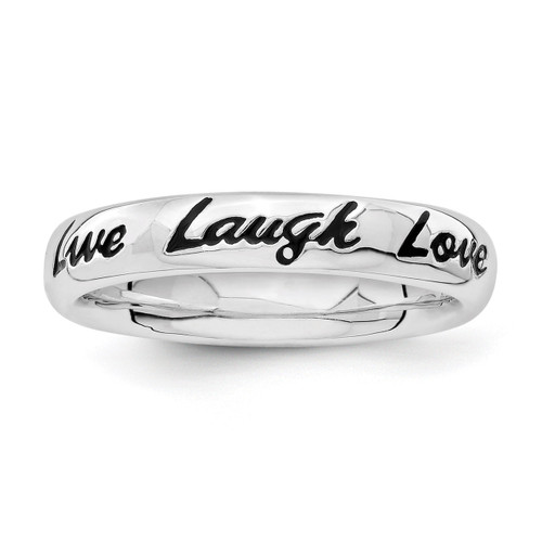 Enamel Live Laugh Love Ring - Sterling Silver QSK1652