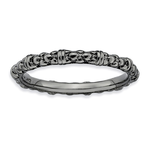 Black-plated Cable Ring - Sterling Silver QSK209