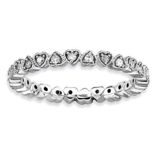 Diamond Heart Ring - Sterling Silver QSK341 UPC: 886774000046