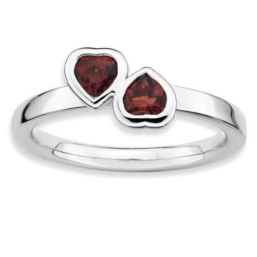 Garnet Double Heart Ring - Sterling Silver QSK398 UPC: 886774018003