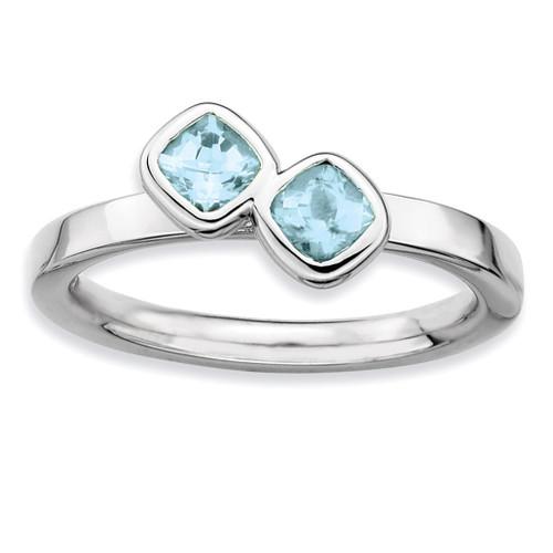 Cushion Cut Aquamarine Ring - Sterling Silver QSK412 UPC: 886774002668