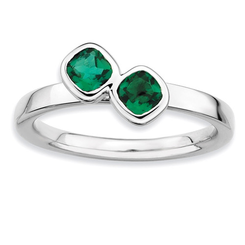 Cushion Cut Emerald Ring - Sterling Silver QSK414 UPC: 886774002781