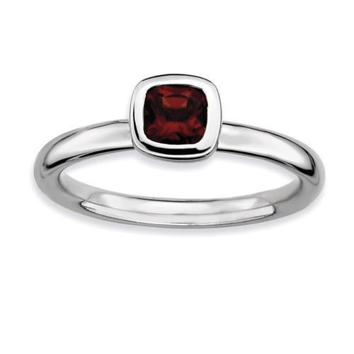 Cushion Cut Garnet Ring - Sterling Silver QSK446 UPC: 886774004532