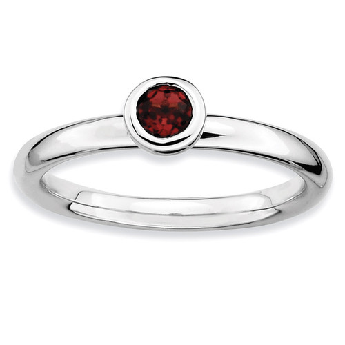 Low 4mm Round Garnet Ring - Sterling Silver QSK496