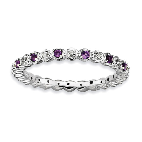 Amethyst & Diamond Ring - Sterling Silver QSK533