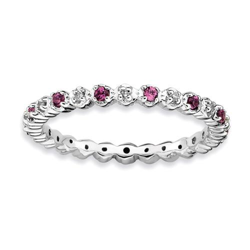 Rhod. Garnet & Diamond Ring - Sterling Silver QSK537 UPC: 886774009704