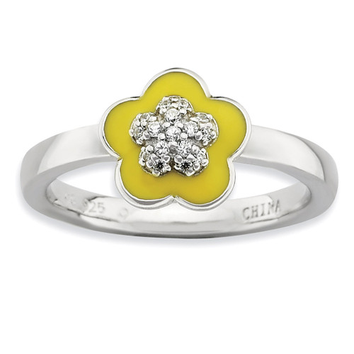 Yellow Enameled & Synthetic Diamond Ring - Sterling Silver Polished QSK579 UPC: 886774172439