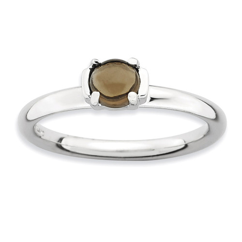 Smokey Quartz Ring - Sterling Silver Polished QSK619