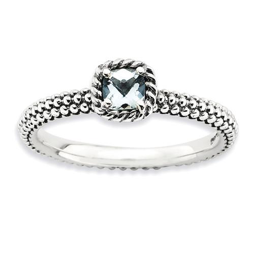 Checker-cut Aquamarine Antiqued Ring - Sterling Silver QSK744 UPC: 886774224046