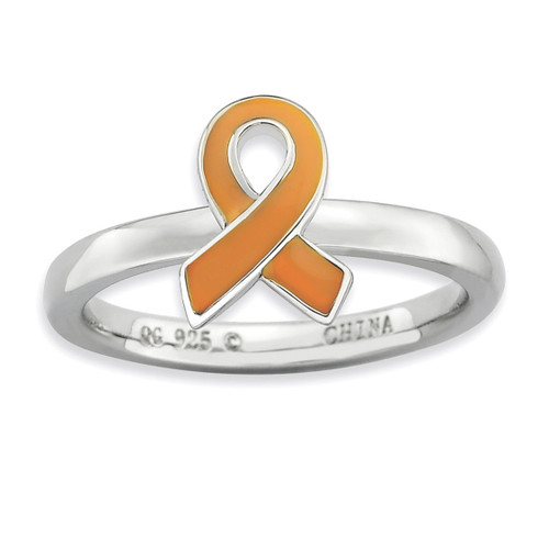 Orange Enameled Awareness Ribbon Ring - Sterling Silver QSK945