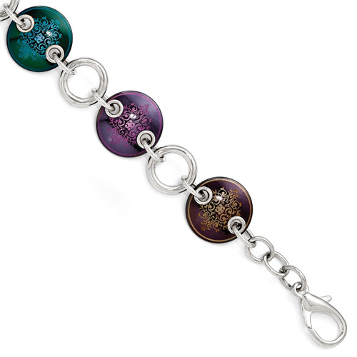 Edward Mirell Black Titanium & Sterling Silver Anodized Multi Color Bracelet EMB145-8