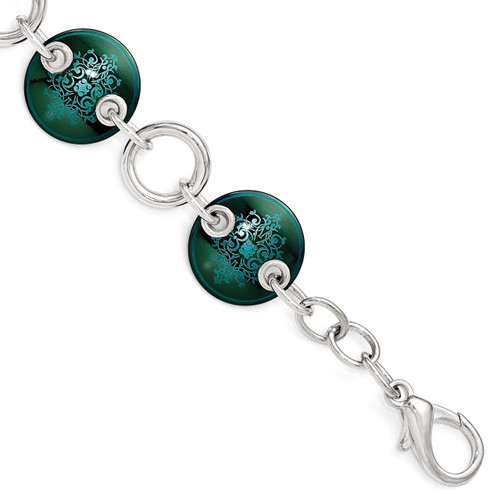 Edward Mirell Black Titanium & Sterling Silver Anodized Teal Bracelet EMB147-8