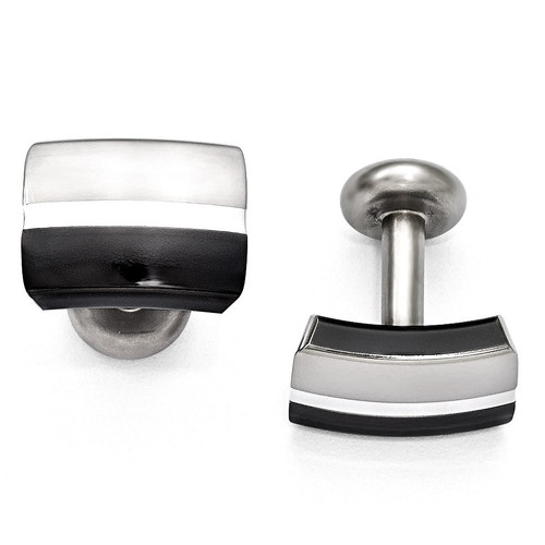 Edward Mirell Black Titanium & Sterling Silver Brushed & Polished Cufflinks EMC108