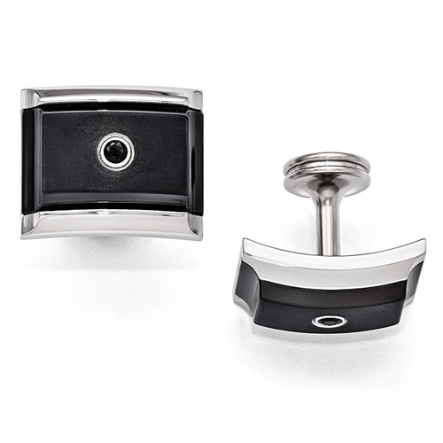 Edward Mirell Black Titanium & Steel Black Spinel Sterling Silver Bezel Cufflinks EMC113