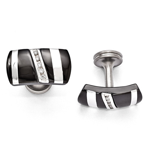 Edward Mirell Black Titanium & Sterling Silver .19 ct. Diamond Cufflinks EMC118