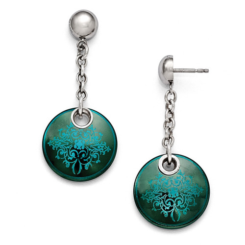 Edward Mirell Black Titanium Anodized Teal & Sterling Silver Earrings EME105