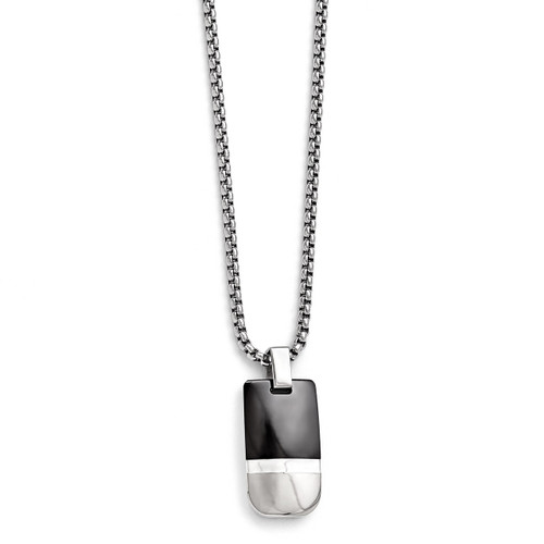 Edward Mirell Black Titanium & Sterling Silver Polished Pendant Necklace EMN115-20