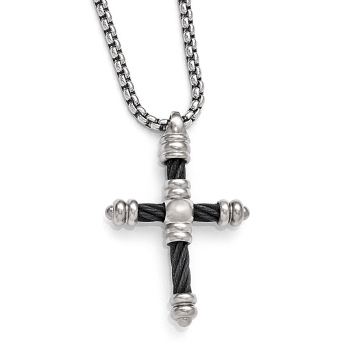 Edward Mirell Titanium Cable Cross Pendant Necklace EMN124-20