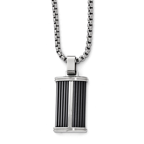 Edward Mirell Black Titanium & Stainless Steel Necklace EMN129-20