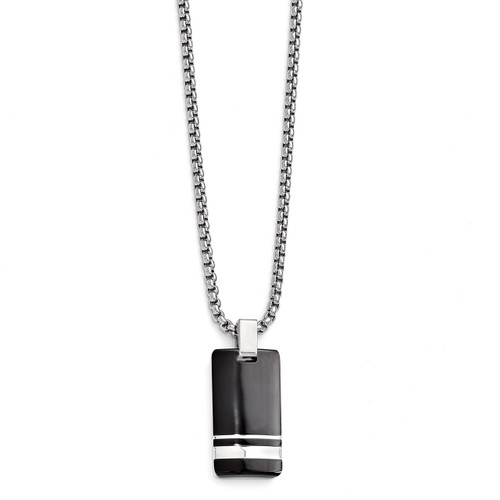 Edward Mirell Black Titanium & Sterling Silver Pendant Necklace EMN130-20