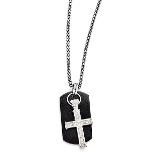 Edward Mirell Black Titanium & Sterling Silver Cross Pendant Necklace EMN131-20
