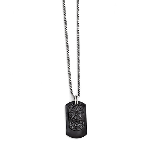 Edward Mirell Black Titanium & Sterling Silver Dog Tag Pendant Necklace EMN132-20