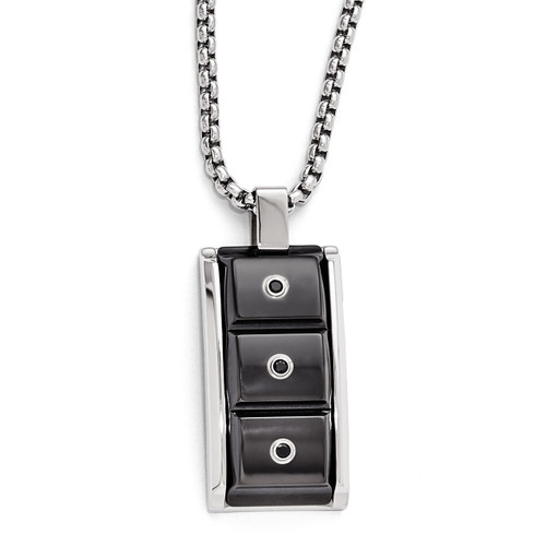 Edward Mirell Black Titanium & Black Spinel with Sterling Silver Bezel Pendant Necklace EMN138-20