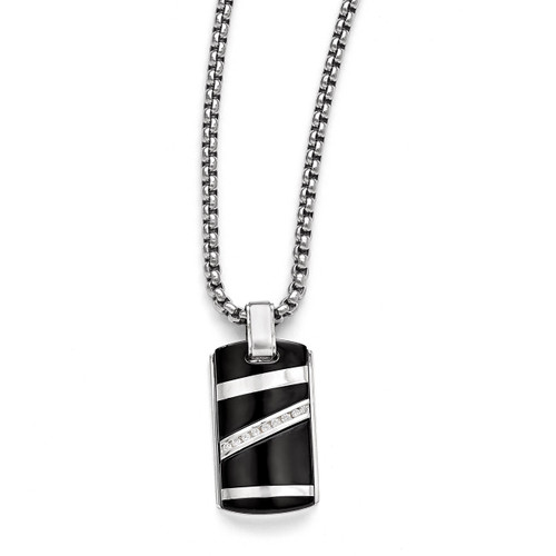 Edward Mirell Black Titanium .17 ct. Diamond with Sterling Silver Pendant Necklace EMN142-20
