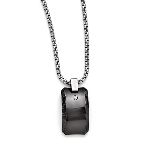 Edward Mirell Black Titanium .10 ct. Diamond Polished Pendant Necklace EMN144-20