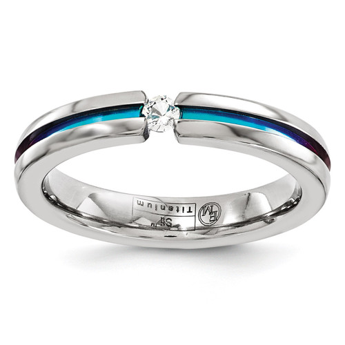 Edward Mirell Titanium White Sapphire & Rainbow Anodized 4mm Band EMR158