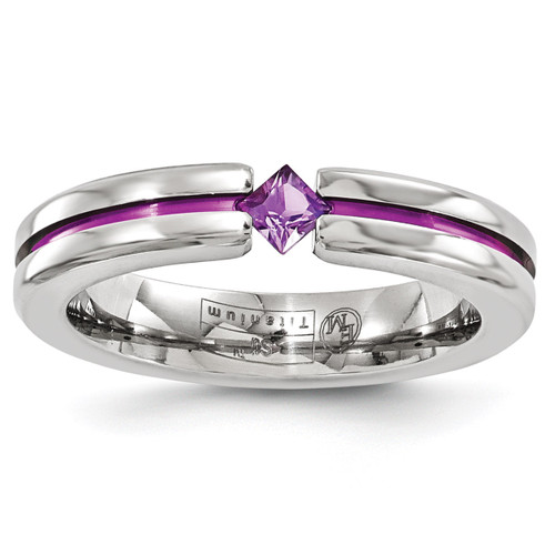 Edward Mirell Titanium Satin Amethyst & Purple Anodized 4mm Band EMR167