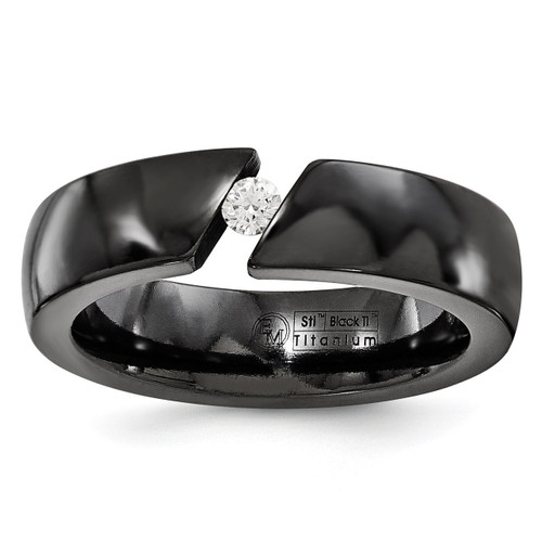 Edward Mirell Black Titanium .10ct Diamond 6mm Band EMR211