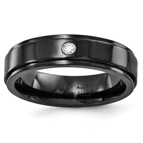 Edward Mirell Black Titanium .03ct Diamond with Sterling Silver Bezel 6mm Band EMR214