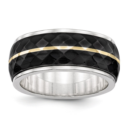 Edward Mirell Titanium & Black Titanium Inlay with 14k Gold Yellow Stripe Ring EMR284
