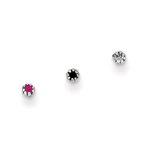 1.5mm Set Of 3 Nose Studs 10k White Gold 10BD100